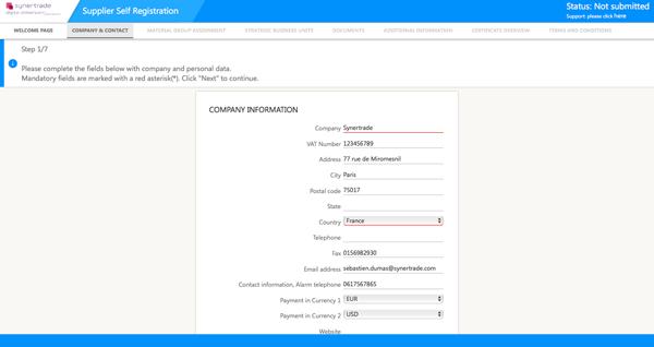 Supplier Self-Registration
